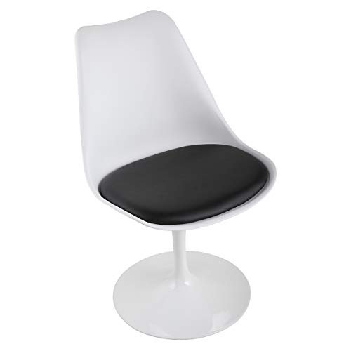 Swivel Tulip Side Chair for Kitchen and Dining Room Bar with Cushioned Seat and Curved Backrest,White and Black