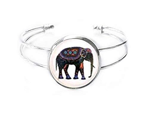 no see long time Pulsera con Diseño de Elefante Indio de Larga Duración para Pintura, Joyería Exquisita y única, Joyería de Cristal de Cúpula Hecha a Mano