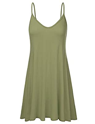 NINEXIS Women's Loose Fit Thin Strap Flared Dress (S-3XL)