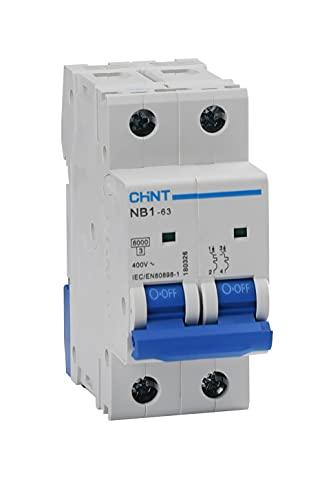 Chint Interruptores magnetotérmicos Serie NB1-63 Curva C, cód. 180318 (bipolar 2 módulos 2P, 400Vac-16A)