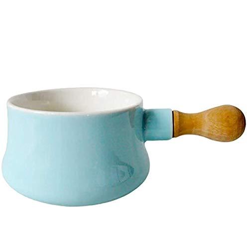 No-palo Cacerola Pequeños Utensilios De Cocina Con Mango De Madera Para Cocina Ensalada Fruta Comida Para,Mini Pan De Leche Calentador De Mantequilla Olla De Recubrimiento Cerámico-Azul 17x9.6x6.5cm