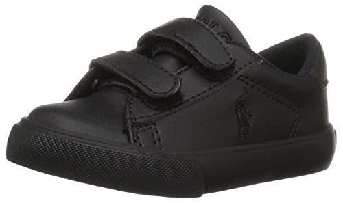 Polo Ralph Lauren Kids Boys' Easton EZ Sneaker, Triple Black Tumbled, 13 Medium US Little Kid