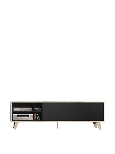 Habitdesign Mueble de TV, Modelo Zaiken, Acabado Color Roble y Antracita, Medidas: 180 cm (Ancho) x 54 cm (Alto) x 41 cm (Fondo)