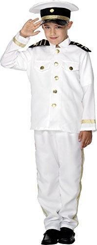 Smiffys Costume de capitaine, enfant, blanc, avec haut, pantalon et chapeau