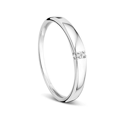 Orovi Damen-Ring Memoire HochzeitsringWeißgold 9 Karat (375) Brillianten 0.02 carat Verlobungsring Diamantring