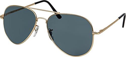Balinco Hochwertige Pilotenbrille Sonnenbrille 70er Jahre Herren & Damen Sunglasses Fliegerbrille verspiegelt (Gold/Matt-Smoke)