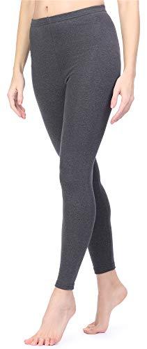 Ladeheid Damen Winterleggings Leggings mit Innenfleece aus Baumwolle LAMA06 (Dunkelmelange, L/XL)