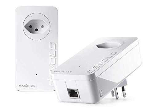 Devolo Magic 2 LAN: krachtige Powerline Starter Kit, 2400 Mbit/s thuisnetwerk, dLAN, 1 Gigabit LAN-aansluiting per adapter, magisch internet uit het stopcontact, wit - Zwitserse stekker