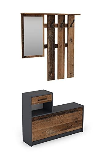 byLIVING Garderoben-Set Tamina / Kommode mit Schuhschrank + hängende Garderobe mit Spiegel / anthrazit Flur-Schrank / Schränke / Regal Braun-Old Style B 97, H 190, T 25 cm