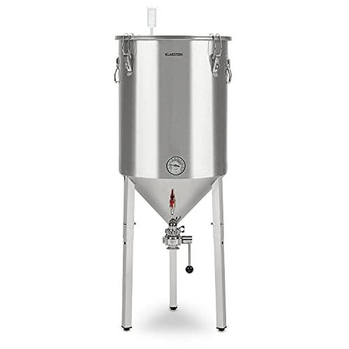 Klarstein Gärkeller Pro XL Fermentador - Hervidor de fermentación cónico, Capacidad 60 L, Para cerveza o vino, Marcas nivel, Válvula drenaje, 3 pies antideslizantes, Acero inoxidable, Asas, Plateado