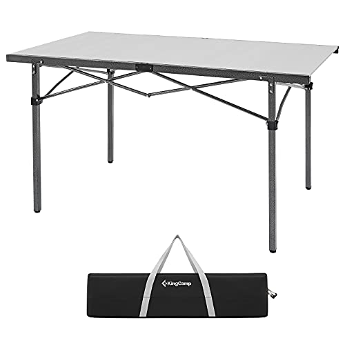 KingCamp Portable Camping Table Roll up Aluminum Folding Camp Table for 4-6 Person Folding Table 4 Foot Heavy Duty Rectangle Metal Collapsible Desk Table for Picnic,Barbecue,Dining,Party