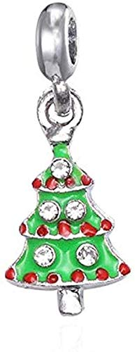 ZPPYMXGZ Co.,ltd Collar de Moda 2 unids/Lote de Cuentas de Abalorios de árbol de Navidad de Color Plateado con Diamantes de imitación compatibles con Pulseras Originales