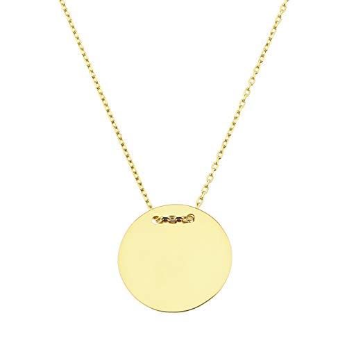 Gravuranhänger Gravurplatte mit Goldkette, rund, 1,8cm, Länge 43,5cm, 585 Gold
