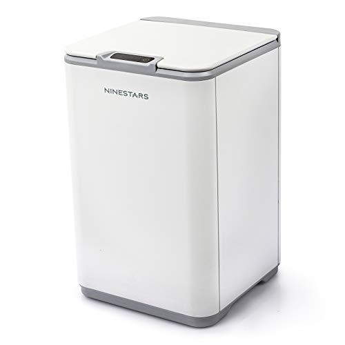 NINESTARS 10L Cubo de Basura Sensor de Movimiento infrarrojo sin Contacto automático,23.5 x 23.5 x 37.2cm (Blanco A)