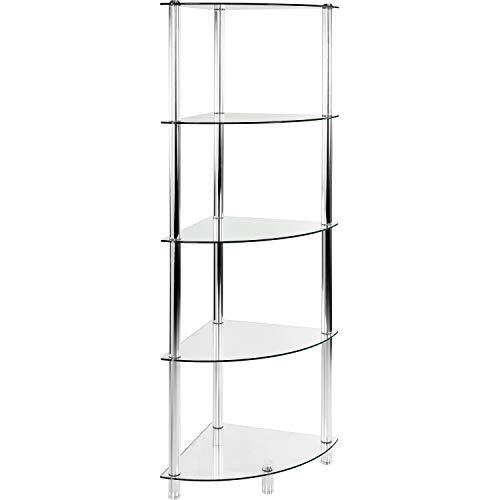STILISTA Designer Glasregal Eckregal Glas 5 Ebenen (H) 137 cm x (B) 40 cm, 5mm Sicherheitsglas mit...