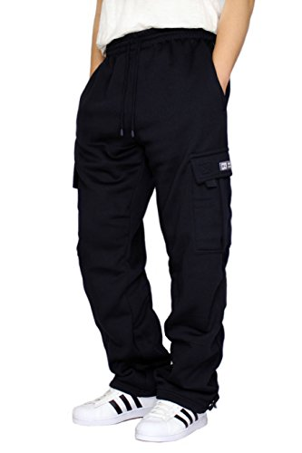DREAM USA Men's Heavyweight Fleece Cargo Sweatpants, Navy, Medium