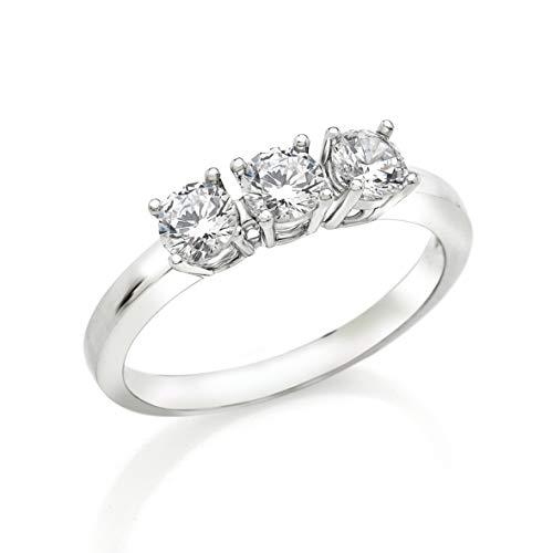 Bossoro Gioielli- anello da donna in argento 925/1000 sterling, trilogy con zirconi taglio brillante mm.4.25