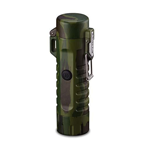 Leobtain Dual Arc Feuerzeug mit Taschenlampe Doppelter Plasma-USB Wiederaufladbar Flammenlos Wasserdicht Winddicht Mini Elektrisches Feuerzeug für Zigarren Kerzen BBQ Camping Stove Aktivität