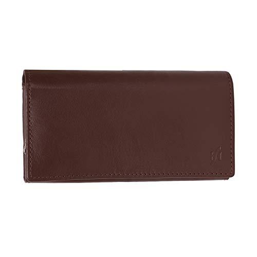 Signore di lusso morbido lungo lembo di vera pelle Nappa sopra borsa Multi portafoglio carta di credito con 2 interna regalo tasca con zip in scatola da Starhide # 5510 (Marrone) Brown
