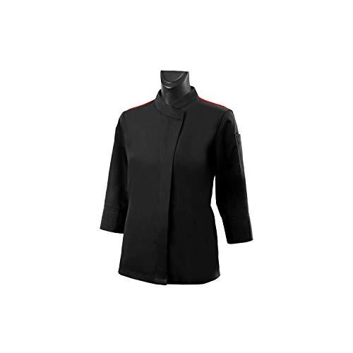 MISEMIYA - Camisa Uniforme Camarera con Mangas LARGAS MESERO DEPENDIENTA Barman COCTELERA- Ref.XGN055 - S, Negro-Burdeos