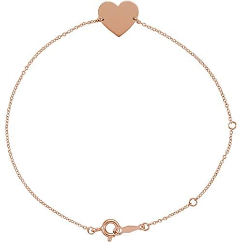 Pulsera de plata de ley 925, chapada en oro de 14 quilates, sin grabado, pulido, 7 amor, en forma de corazón, regalo para mujer, 20 cm