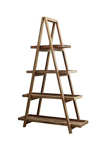 Meubletmoi - Estantería pirámide 190 cm de altura en pino reciclado con 4 compartimentos de almacenamiento, colección Chalet