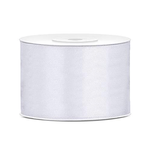 DaLoKu Nastro di raso 6/12/25/38/50/100 mm x 25 m, dimensioni: 50 mm x 25 m, colore: bianco