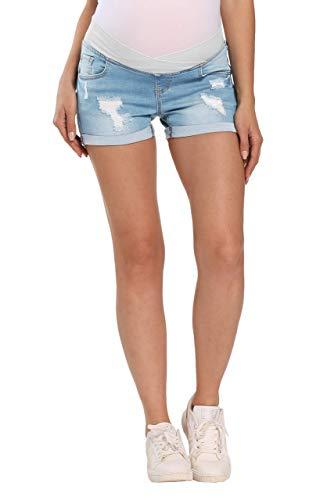 Kegiani Maternity Overbelly Wide Elastic Band Waist Denim Shorts Summer Pregnancy Shorts #7 Light Blue,Medium