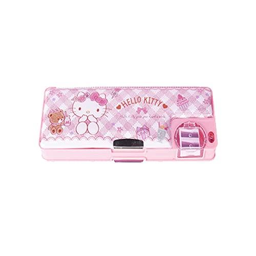 Astuccio per matite Hello Kitty per ragazze per la scuola, spazio indipendente su entrambi i lati, con coperchio a ventosa magnetica-EVA, rosa, Cartone animato