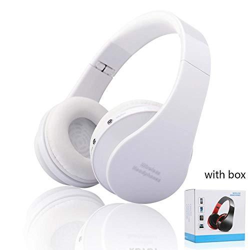 Audífonos inalámbricos con Bluetooth, estéreo, Plegables, para Deporte, audífonos con Bluetooth, para Caja de teléfono Inteligente, Color Blanco con Caja, Reino Unido
