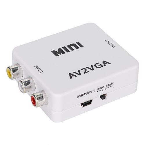 Convertidor de alto rendimiento de AV a VGA 480P Sin controlador Adaptador de compatibilidad fuerte Audio Video para grabadora de DVD