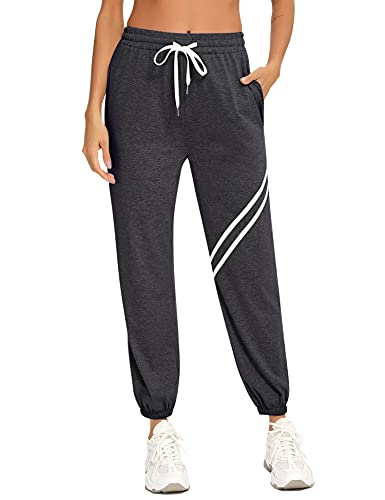 Doaraha Pantalon Chandal Mujer Pantalones Deporte Largos Algodón Deportivos Yoga Fitness Jogger Sweatpants con Bolsillos (1518# Gris Oscuro, Large)