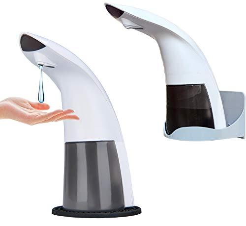 Seifenspender, ohne Bohren, berührungsloser automatischer Desinfektionsmittel, Infrarot-Sensor, für Zuhause, Schule, Büro und Hotel, mit Abtropfmatte und Halterung für Wandmontage (350 ml)