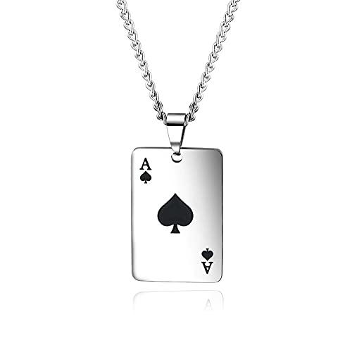 Negro/Rojo Pareja de Acero Inoxidable Lucky Spades Poker Charm Colgante Collar Cadena Mujer Hombre Joyería Punk (Color : Black)