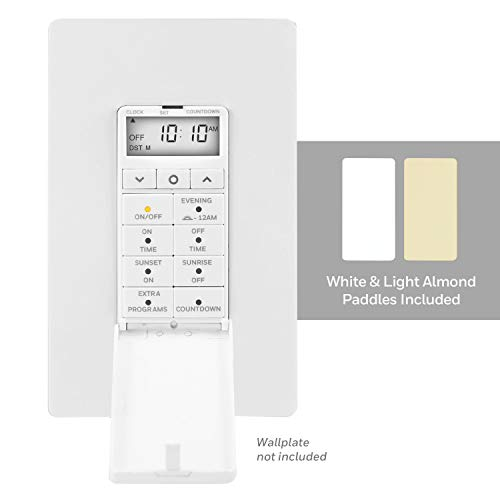 Honeywell UltraPro Daysmart 7-Day In-Wall Digital Timer Switch, Presets/Countdown, Programmable Settings, Override, Sunrise/Sunset, Ideal for Indoor, Porch, Seasonal Lighting, LED, 40954, White