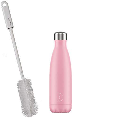 CHILLYs Trinkflasche & Isolierflasche Pastell pink Bottle - Edelstahl Thermos Wasserflasche - Flasche hält 24 Std. kalt & 12 Std. heiß + SCHARFsinnig Flaschenbürste