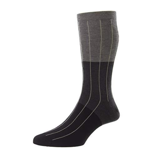 Pantherella Mid-Calf Pyrus Dreifarbige Herren-Socken, dunkelgrau, Medium