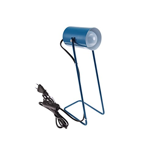 Incidence Paris 52464 LAMPE METAL RETRO-Bleu paon, 12 x 8,5 x H 30 cm