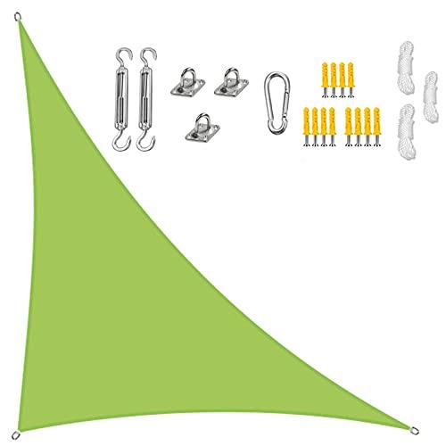 GOODLUKY Triangle Sun Shade Sails Impermeable, Toldo De Vela De Jardín En Ángulo Recto con Kit De Fijación, 3 Cuerdas, Bloque UV, para Patio Al Aire Libre Piscina De Playa, Verde,5×5×7.1m