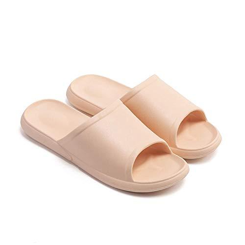 HUSHUI Bañarse Sandalias Zapatillas para Mujer,Zapatillas de baño Antideslizantes, Sandalias de Fondo Suave para Interiores para el hogar-Amarillo Claro_37-38,Zapatos de Playa y Piscina para