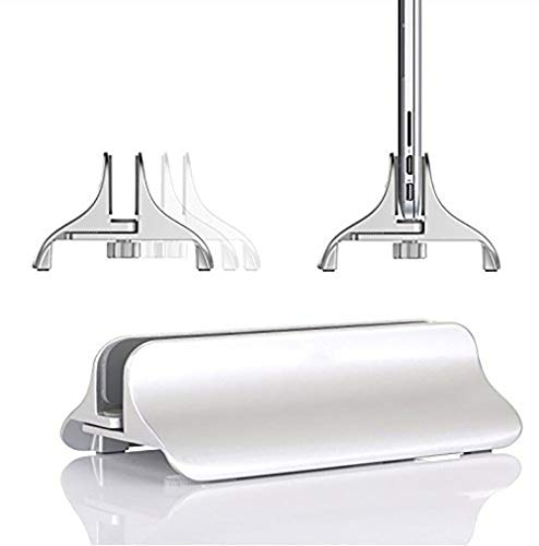 WULAU Vertical Ajustable Soporte para portátil Aluminio Espacio Ahorro de Soporte para Todos los móviles y portátiles MacBook, MacBook Air, MacBook Pro, Ultrabook, Lenovo y Otros, Plata