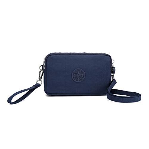 NOTAG Umhängetasche Damen, Mehrfachtasche Geldbörse Wasserdicht Nylon Brieftasche Handtasche (Blau)