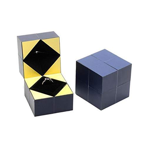 YUY Caja De Anillo De Cubo De Rubik, Regalo Creativo Personalizado del Día De San Valentín Caja De Cubo De Rubik Anillo De Exhibición De Caja De Joyería,Blue