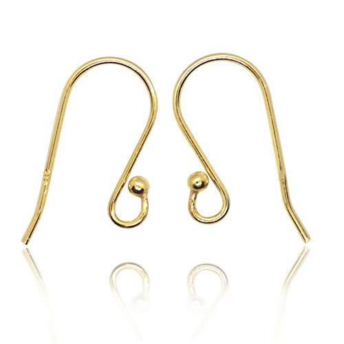 TJS Earring Ball Hooks Gold Vermeil 10 Pcs French Wire Jewellery Making Findings, 20mm, Nickel Free