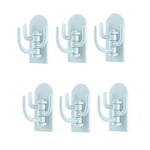 STROG 6 ganchos adhesivos para pared de plástico fuerte, sin clavos, ganchos extraíbles para dormitorio, baño, impermeable, para cocina, baño, oficina, armario y dormitorio (Style4, azul)