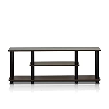 Furinno 12250R1DBR/BK Turn-N-Tube No Tools 3D 3-Tier Entertainment TV Stands, Dark Brown/Black