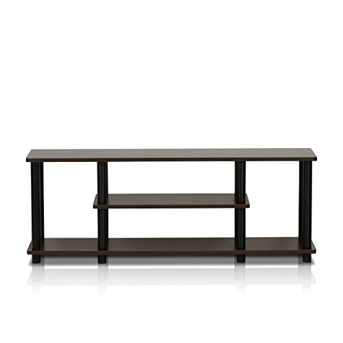 Furinno Turn-N-Tube No Tools 3D 3-Tier Entertainment TV Stands, Dark Brown / Black