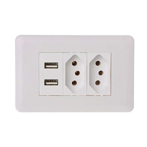 JOYKK 15A Wall? Dubbele standaard adapter voor stopcontacten, dubbele USB-lader, 5 V, 2,1 A, wit