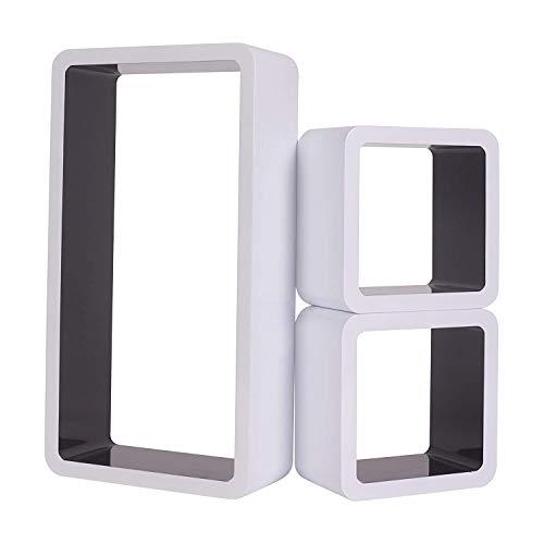 rebecca mobiliConjunto de 3 Repisas Flotante Estanterias Tablero Dm Blanco Negro Diseño Contemporaneo Almacenamiento Cd Libros (Cod. RE4878) 🔥