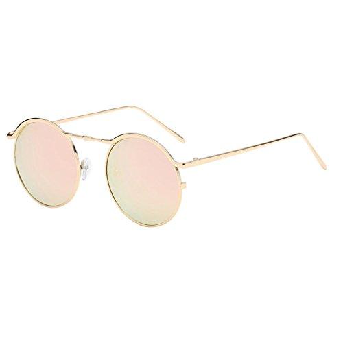 ?Amlaiworld sommer Kreisförmig Metall Rand Rahmen Sunglasses mode outdoor Tourismus bunt Spiegel Linse sommer strand reflektierenden Polarisierte Sonnenbrillen (B)
